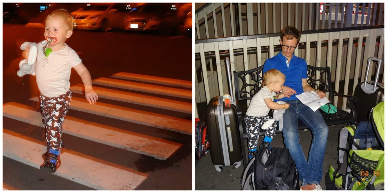Daan, springlevend na vrij veel slaap, helpt papa graag de weg naar het appartement vinden. Wij zijn ook vrolijk op onze bestemming geraakt. Zij het iets minder uitgeslapen.