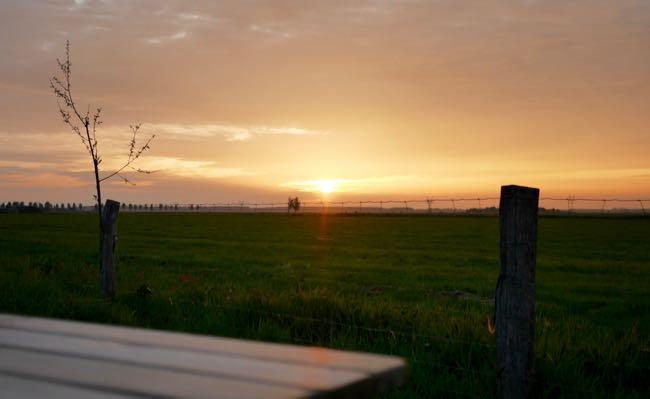 Zonsondergang in Oosterwolde... We hebben hier zo heerlijk van zitten genieten. Van de rust en een wijntje.